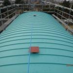 千葉県市川市中江川水門 ガルバリウム鋼板アーチ型 タテ平葺き工事